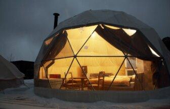 ドーム型グランピング、冬は薪ストーブを楽しめる「グランドーム京都天橋立」