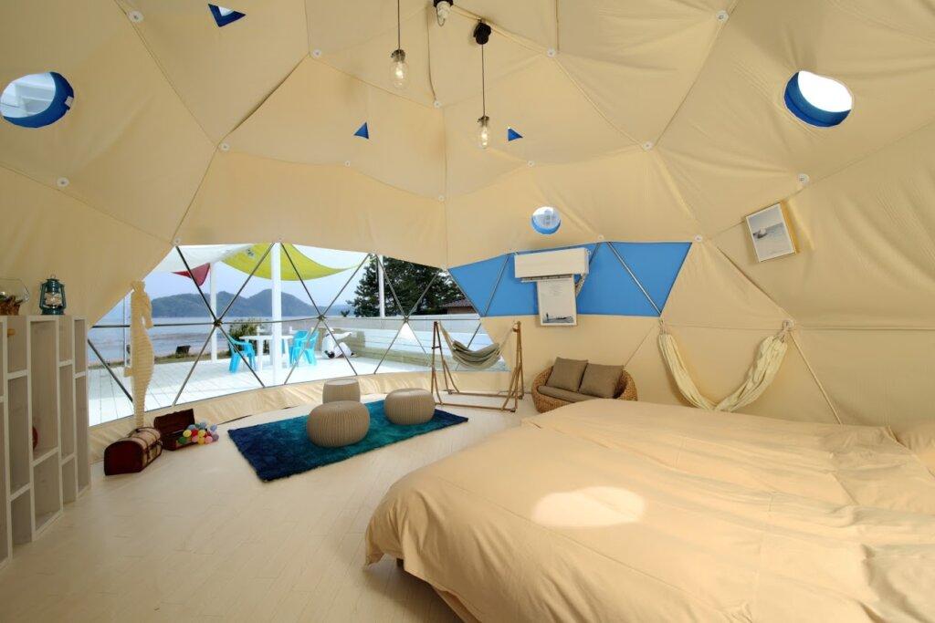 人気のドームテントを楽しめる「ブルードーム京都天橋立」