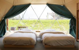 開放感のあるテント、グランドーム伊勢賢島でぜひお泊まりください。