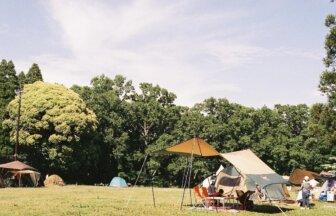 自然の中で芝生でBBQを楽しめる昭和の森