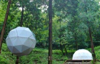 風の国温泉グランピングの球体テントとドームテント