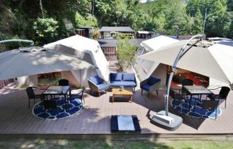 日帰りで楽しめる施設「SANDEN・VILLAGE」あらかじめテントが張っているので楽ちんです。