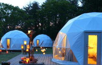 超小型タイプのドームテント、自然が満喫できる杓子山ゲートウエイキャンプ