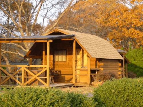 チロリン村キャンプグランドのキャビン、木のぬくもり感じれる建物です