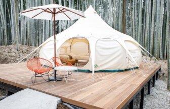 ザ・バンブーフォレストのロータスベルテント、竹林に囲まれてゆったりお過ごし頂けます。