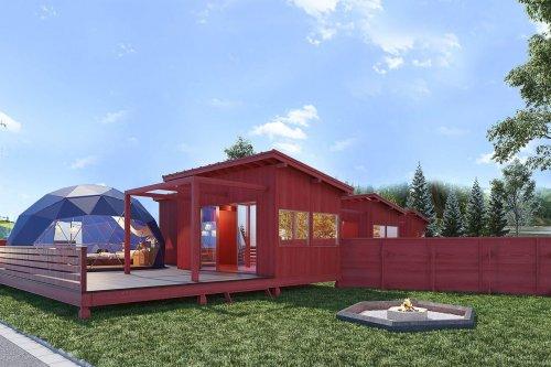スタンダードドームのドームテントにBBQ小屋、専用キャンプファイヤースペース